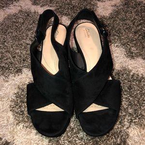 Clarks Suade Wedge Sandals
